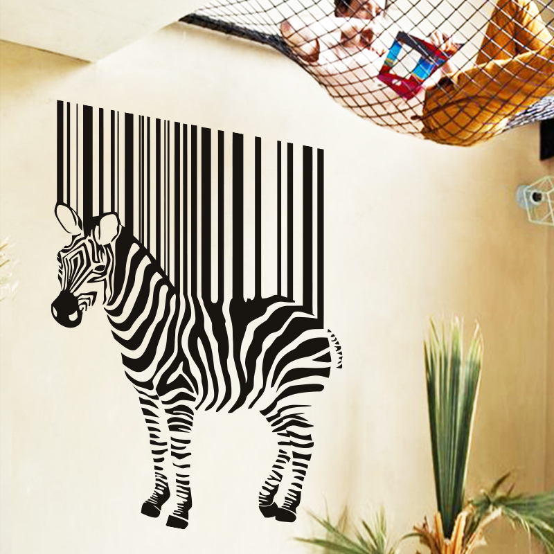 Art Cheap Home Decoration Vinyl Zebra Brand Wall Sticker Beautiful House Decor Africa Animal Decals In