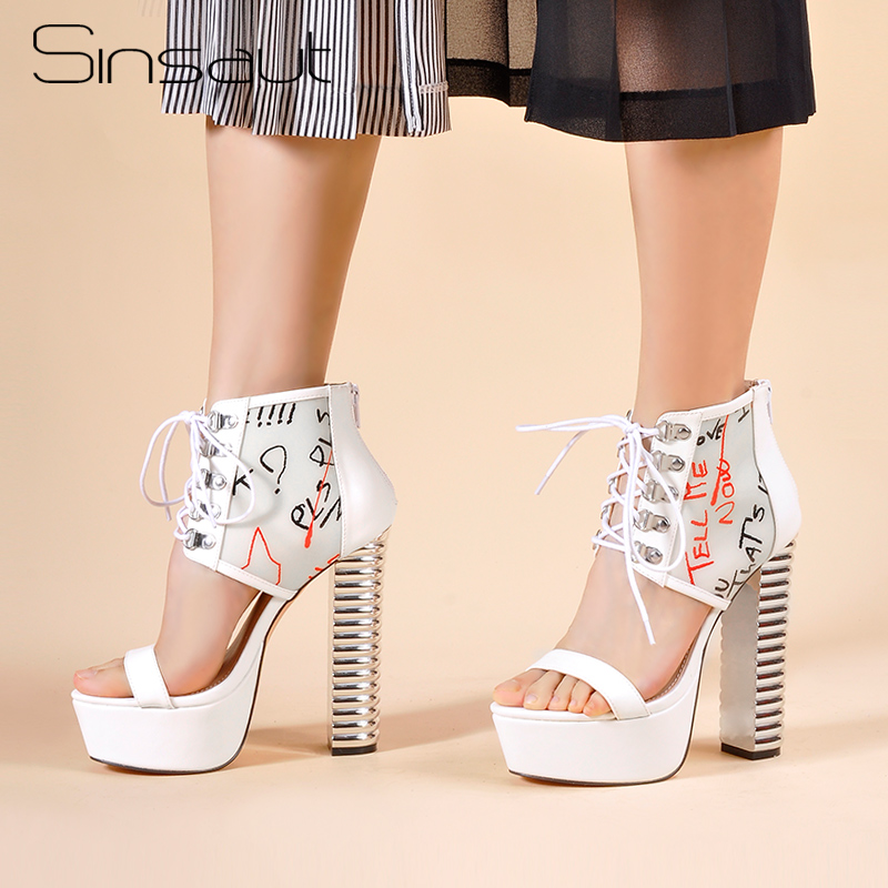 Sinsaut Shoes Women High Heels Platform Sandals Women Round Thread Heels White Graffiti PVC with PU leather  Wedges Sandals-in High Heels from Shoes    1