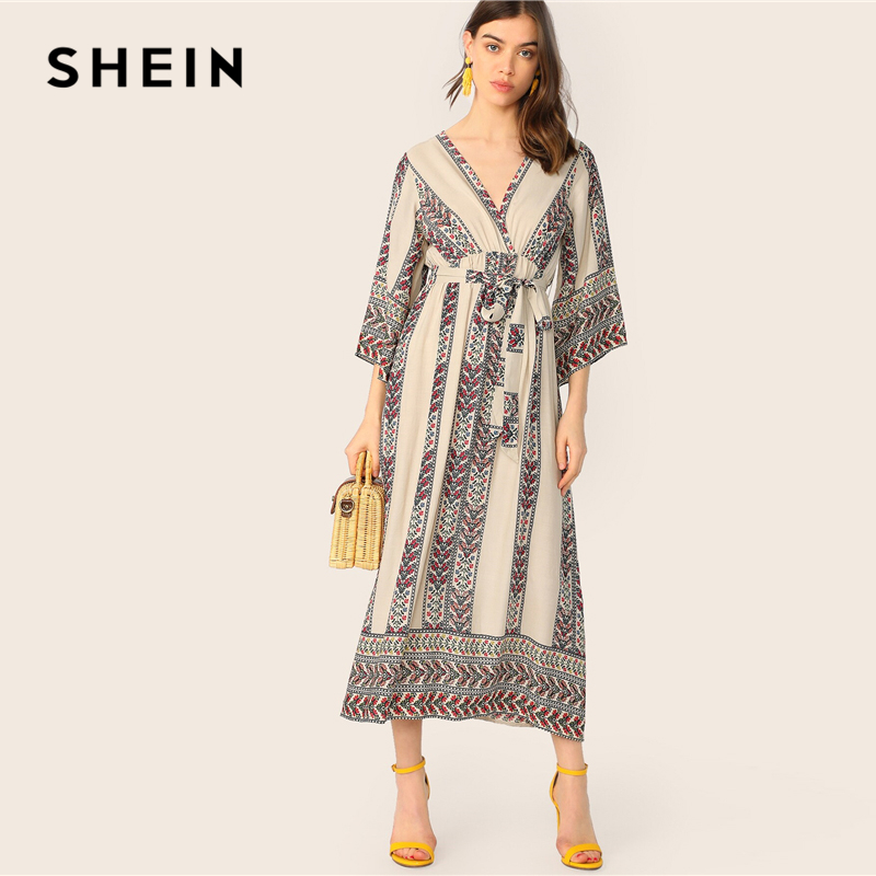 Shein Bell Sleeve Wrap Ditsy Floral Belted Dress Women's Dresses Women's Shein Collection