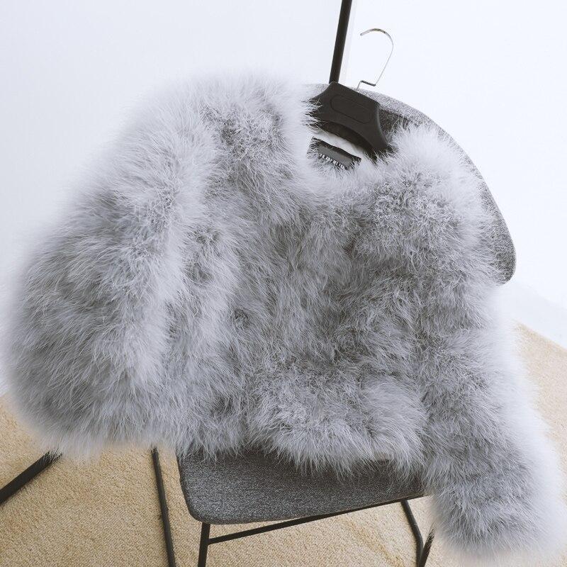 100% vestes de fourrure de fièvre de plume moelleuse faites à la main tricoté véritable manteau de fourrure d'autruche femmes vente au détail en gros gris fourrure moelleuse fièvre - 5