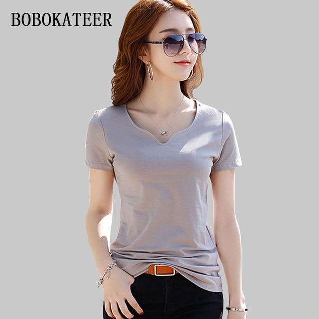 84c91de994b BOBOKATEER v-neck tee shirt femme 2018 short sleeve top women tops cotton  plus size women clothing summer t shirt women t shirt