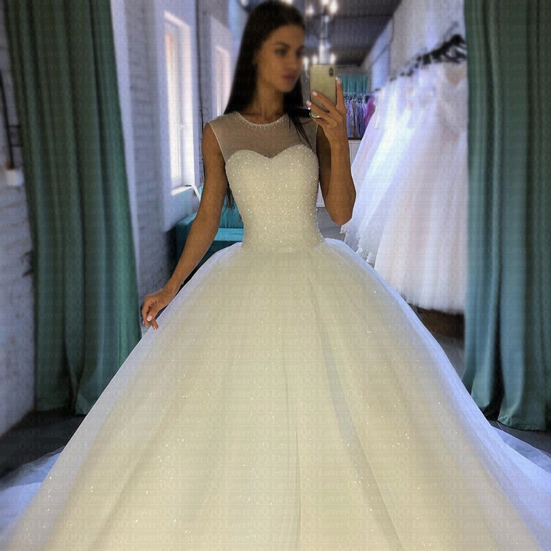 2019 Sparkling Robe De Mariee Sheer Jewel Neckline Ball Gown Wedding Dresses Luxury Arabic Dubai Bridal Gowns
