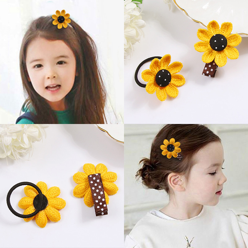 1PC Children Cute Yellow Flower Hair Clips Elastic Hair Bands Girls Headbands Tie Hair Ponytail Holder Headwear Hair Accessories magic elacstic hair bands big rose decor elastic hairbands hair clips headwear barrette bowknot for women girls accessories