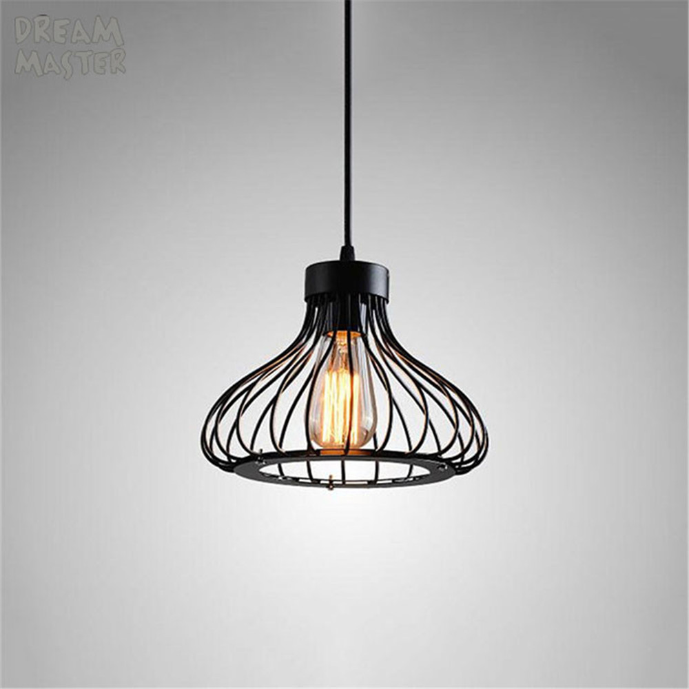 Minimalism Hanging chandelier Light Black Wire Cage Lamp Lighting ...