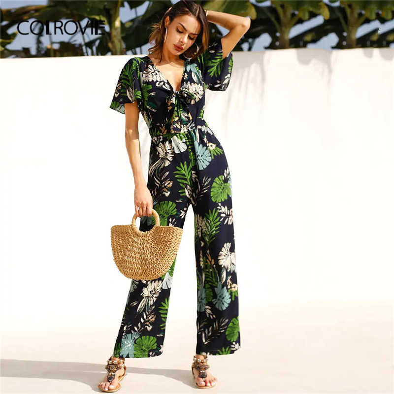 Collovie Deep V Neck Tropical Print Knot Front Beach Wear Jumpsuit mujeres 2019 Verano de manga corta de pierna ancha Boho Sexy mamelucos
