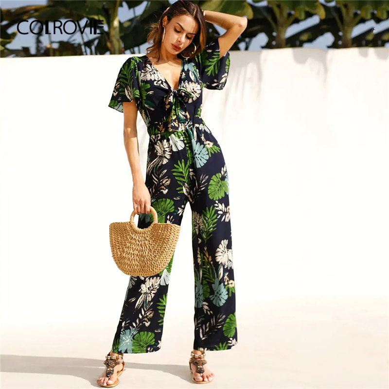 COLROVIE Deep V Neck Tropical Print Knot Front Beach Wear   Jumpsuit   Women 2019 Summer Short Sleeve Wide Leg Boho Sexy Rompers