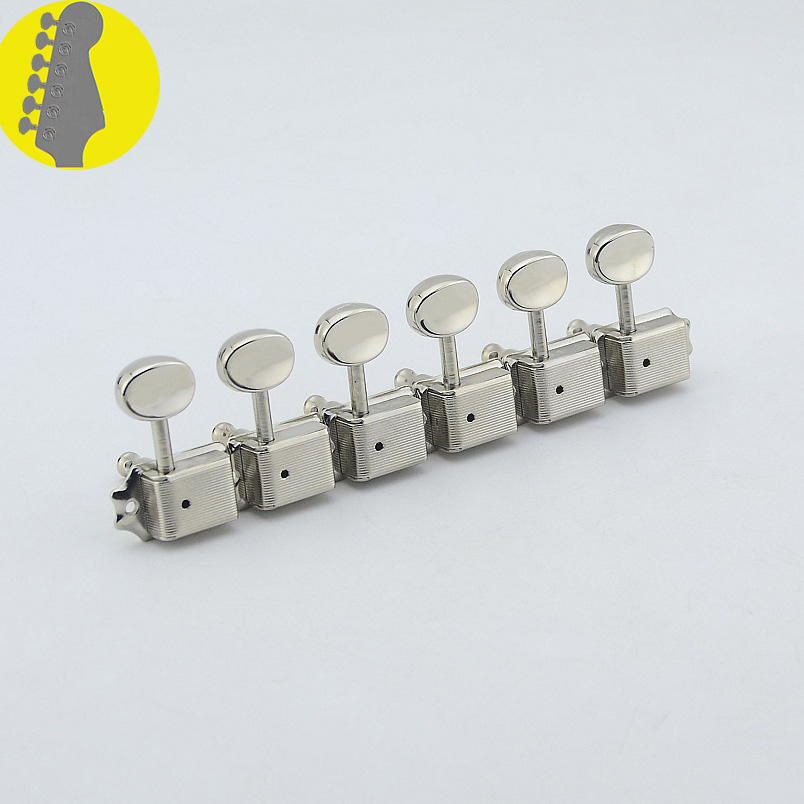Clearance Sale 1 Set GuitarFamily Kluson 6 In-line  Vintage  Guitar Machine Heads Tuners  ( Nickel )  MADE IN KOREA