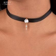 Новая мода ювелирные изделия кристалл с кожей колье ожерелье смешанный цвет подарок для женщин девушки N1801