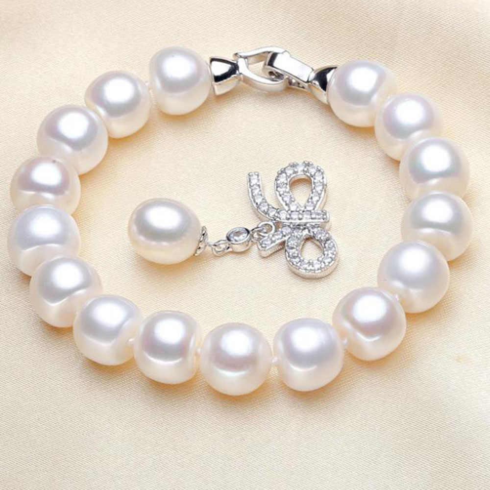 YKNRBPH высококачественный Женский браслет из пресноводного жемчуга S925 стерлингового серебра свадебные браслеты рисовая подвеска ювелирные украшения