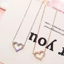 Beautiful romantic set jewel love necklace short collar bone chain Korea and simple temperament pendant