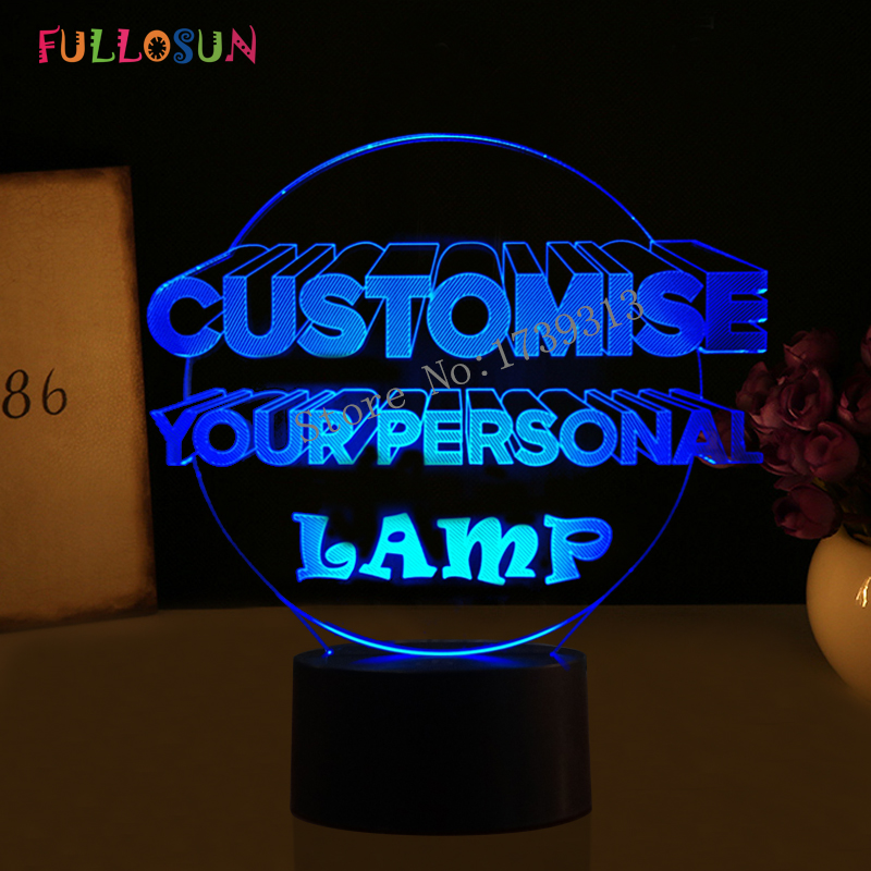 Customize 3D Lamp for Personal LED 7 Color USB Night Lights for Gift & Dropship
