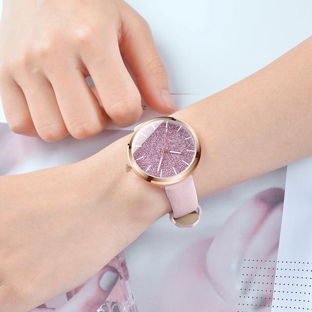 2018 New Women Fashion Watch Glitter Ladies Watch Women Watches Leather Women's