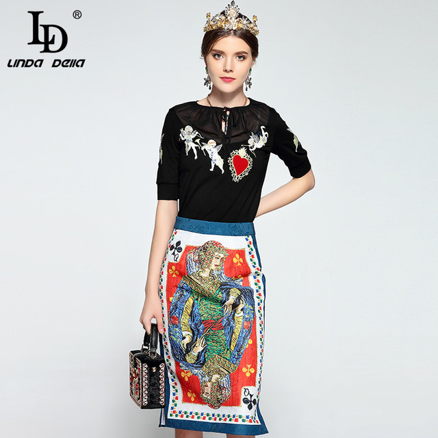 Runway Suit Set Short Sleeve angel embroidery Pullover and Skirt Suit Two-Pieces Set