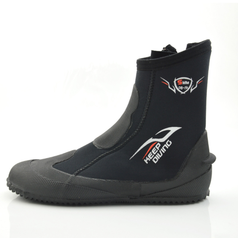 Garder la plongée 5 MM néoprène plongée sous-marine bottes chaussures d'eau vulcaniser hiver résistant au froid haut haut chaud palmes chaussures de chasse sous-marine (L)