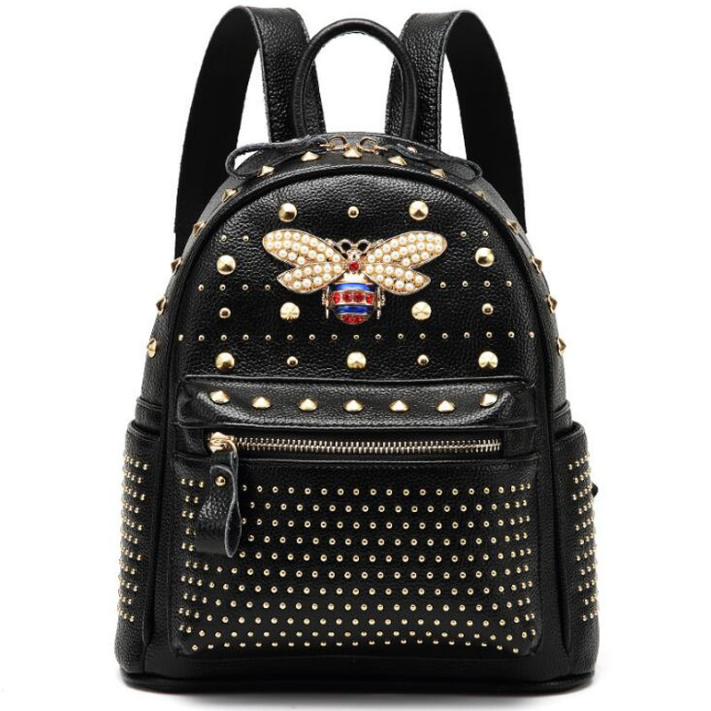 2018 come fashion Women bag Diamond bee Bags Pearl Rivet Travel Shoulder Bag PU leather School backpack Female Black Bag New 2018 new rivet pu leather backpack women fashion school bag casual patent leather travel bag women backpack monster school bag