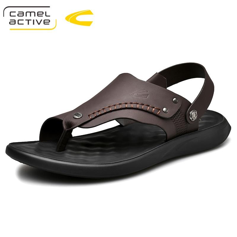 Sandálias Praia Camel Moda Genuína marrom Chinelos Preto Tamanho Grande Sapatos Couro Novos Homens Marca Da Active De Dos Verão 2019 rTrqw6HZ
