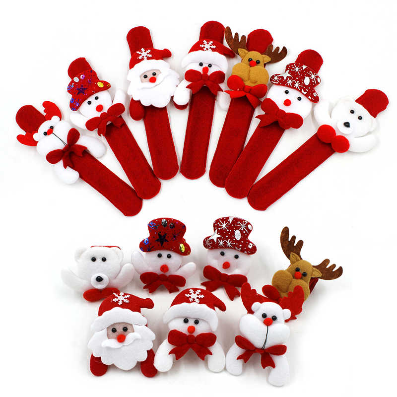 Christmas Patting Circle Bracelet Decoration for Xmas Children Gift Santa Claus Snowman Deer New Year Party Toy Decor