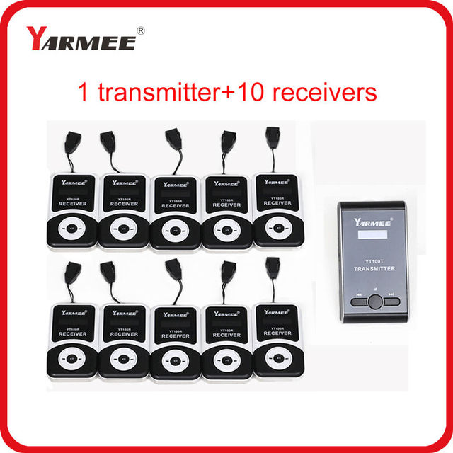 YARMEE Smallest Wireless Tour Guide Microphone Translation System With 99 Channels 1 Transmitter 10 Receivers Charger