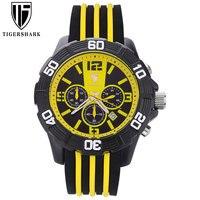 TIGERSHARK Relógio Cronógrafo de Quartzo Homem Relógio Esportivo Data 30 M Cor Amarelo À Prova D' Água Relógio Automático Com Caixa de Relogio masculino