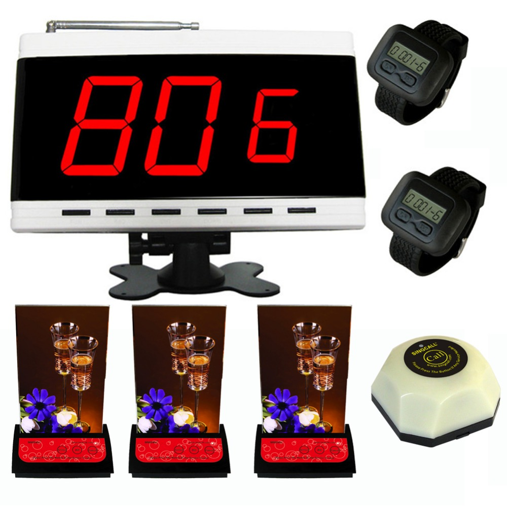SINGCALL Wireless Service calling system, wireless pager,1white receiver,2 watches, 3 table pagers plus a button bell wireless service calling system paging system for hospital welfare center 1 table button and 1 pc of wrist watch receiver