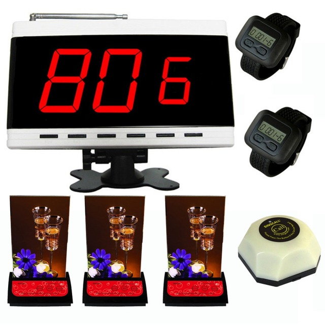 Singcall sistema de llamada sin hilos de servicio, localizador inalámbrico, receptor de 1 blanco, 2 relojes, 3 mesa de localizadores más un botón de bell