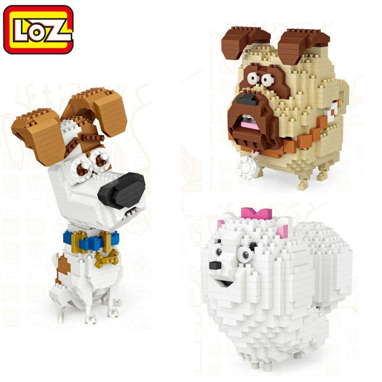 LOZ Mini Blocks Cartoon Dog Model DIy Educational Toy Pet pomeranian Small Bulldog brinquedos Kids Building Bricks Gifts 9788 loz diamond blocks plastic building blocks kids children gift educational toy cartoon model educational diy building figure 9505