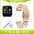 24mm de acero inoxidable correa de muñeca venda de reloj para el sony smartwatch 2 sw2 corchete hebilla pulsera con cierre negro de oro rosa de plata