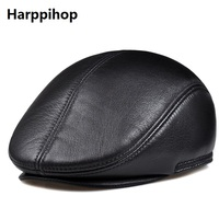 2017 high quality real leather cowhide beret men gorras planas fashion bere flat golf hat boina winter cap black brown color
