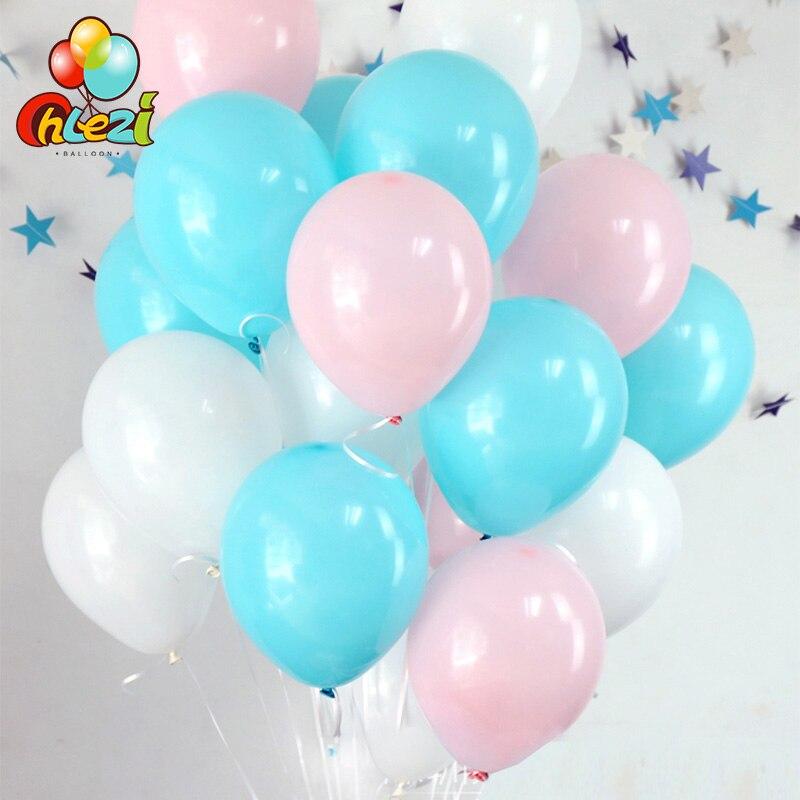 30 pcs Bebê Rosa Azul Tiffany Branco Balões De Látex balão De Hélio Transparente chuveiro Do Casamento Decoração da Festa de Aniversário Da Menina do Menino