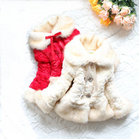 Fashion Winter Children Thickening Coat Faux Fur Wide Lapel Coat Infant Clothing Fur Jackets Keep Warmming