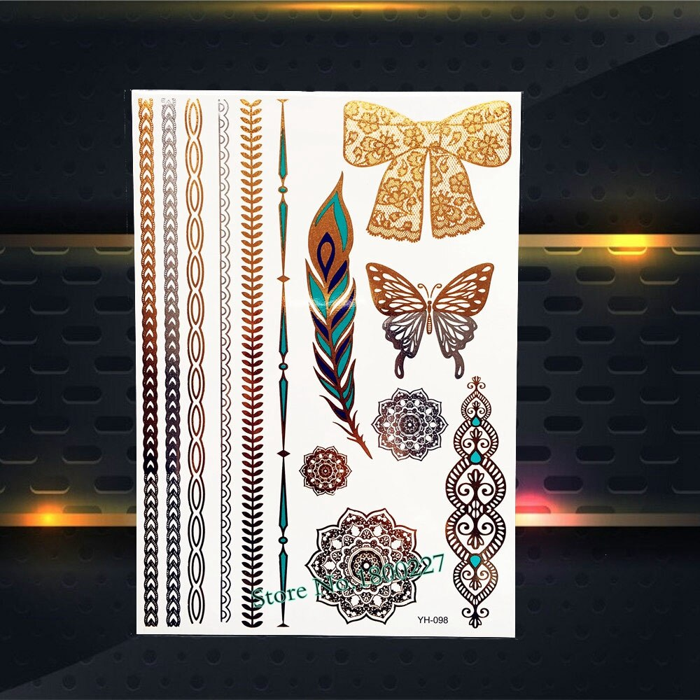 1PC Temp Metal Tattoo Stickers Gold Star Sun Silver Color Moon PYS 57 Star Galaxy Flash Waterproof Tattoo Paster Summer G0510 in Temporary Tattoos from Beauty Health
