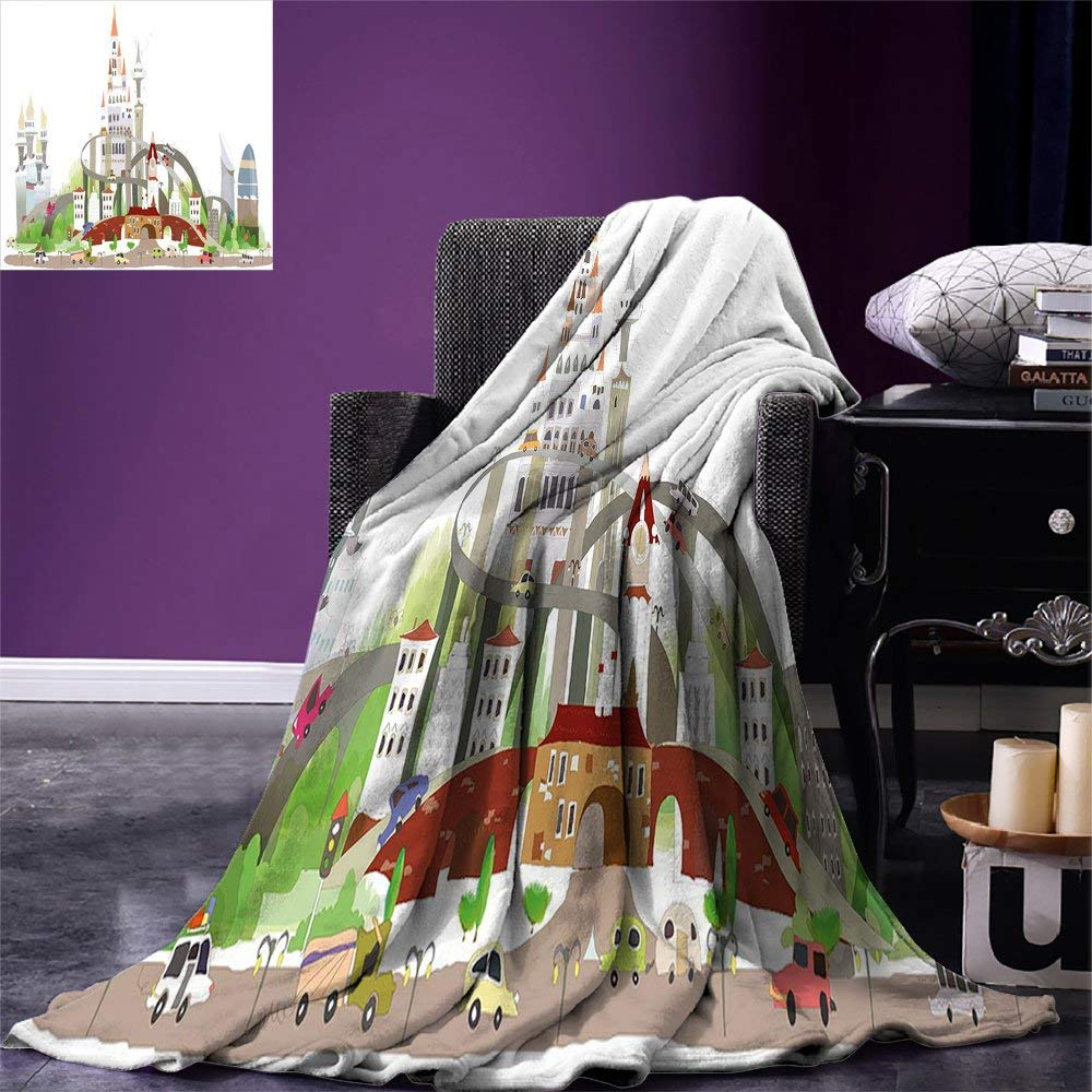 New Fashion Custom Soft Fleece Throw Blanket Beige Decor Collection Graphic Of Old Town Wrought Lanterns Nostalgic Style Urban Life Boho Power Source Replacement Batteries