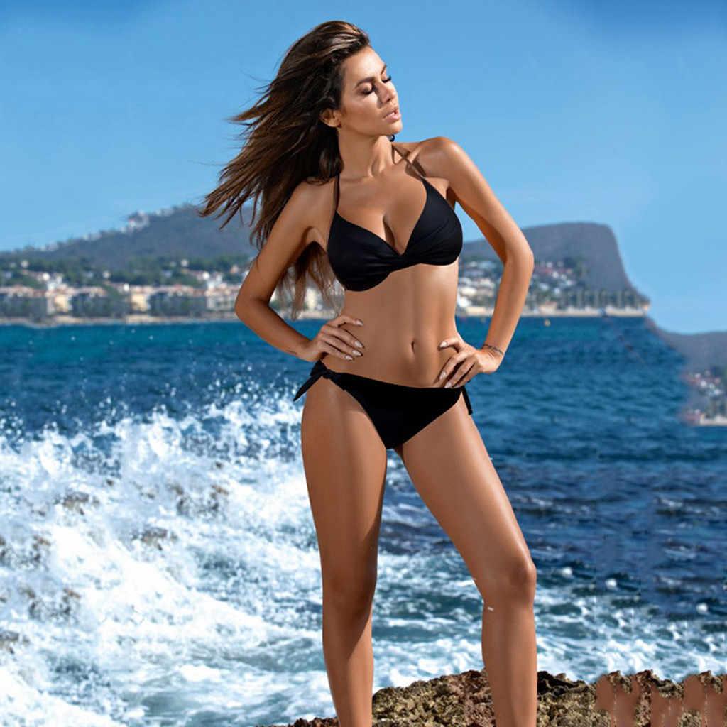 Wanita Pakaian Renang Bikini Perban Baju Mandi Swimsuit Pinggang Rendah Tankini Pantai Baju Renang Musim Panas Baju Bikini Femme Thong Bikini