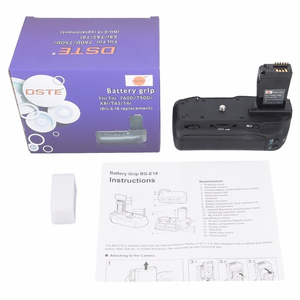 DSTE BG-E18 Battery Grip for Canon EOS 760D 750D IX8 T6S T61 DSLR Camera pro vertical battery grip holder for canon eos 760d 750d t6s t6i ix8 as bg e18