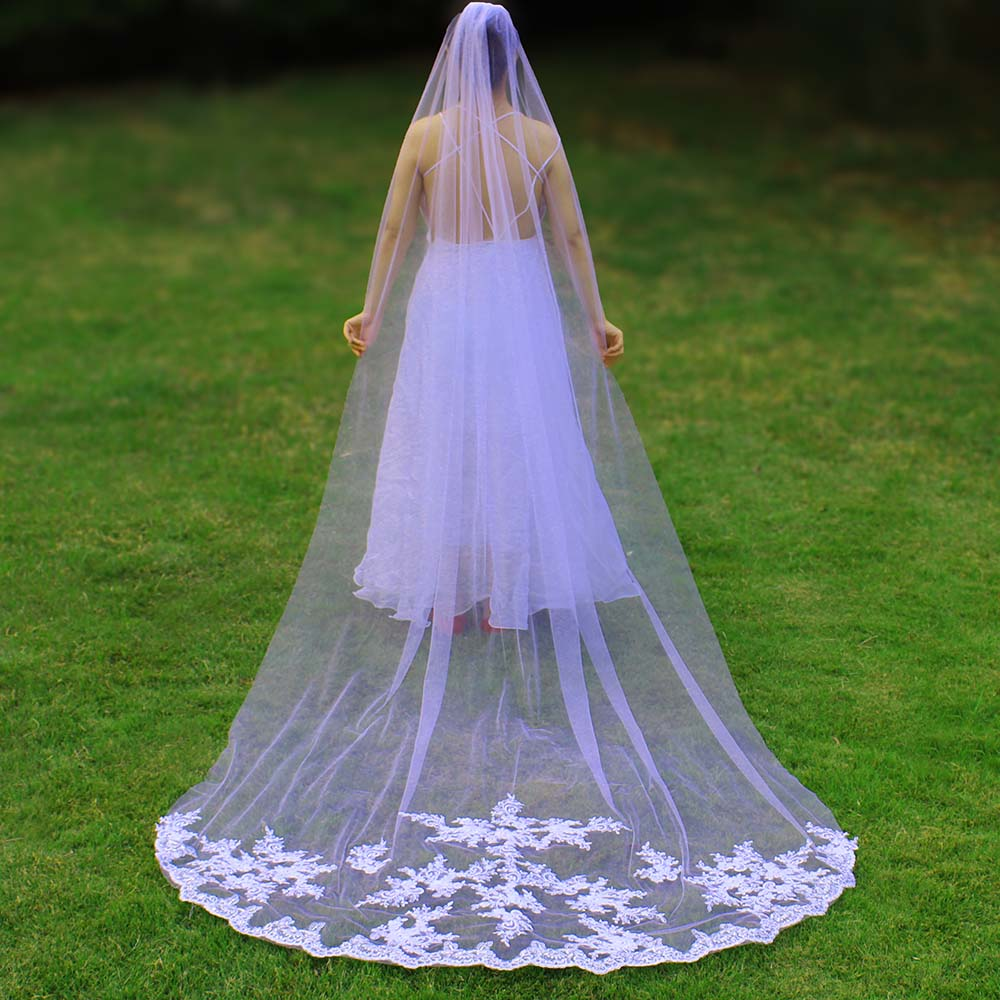 New Arrival 3 Meters Long Lace Appliques Wedding Veil with Comb One Layer Bridal Veil Velo de Novia Wedding Accessories