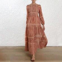 2019 vintage women dress long sleeve o neck elastic bust loose bohemian summer ladies dresses ankle-length print vestidos