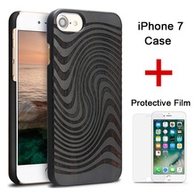 "for iPhone 7 Case Cover for iPhone 7 Plus 4.7"" 5.5"" Natural Wood Cases with Tempered Film Protective Cover for iPhone 7 7plus"