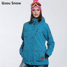 New Gsou Snow ski jacket women snowboard jacket women warm waterproof ski wear camouflage abrigos mujer invierno 2016