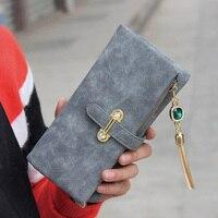 Badiya Nubuck Leather Wallet Women Solid Tassel Zipper Hasp Purse Ladies Vintage Credit Card Holder Brand