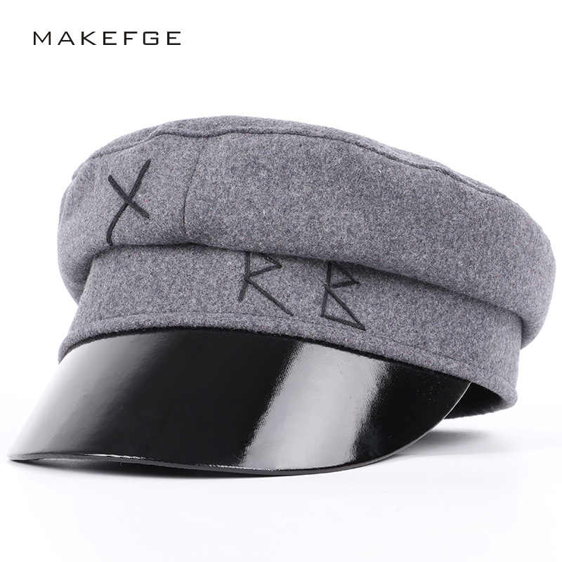 2018 Fashion Wool Military Hats Casual Flat Top Hat Autumn Winter Man Woman  Captain Cap Faux 8a79b03035a4