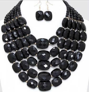 ร้อนขาย* s3389มากสีดำมุกยาวแถวหลายชั้นS Trandสร้อยคอลูกปัด(B0409)