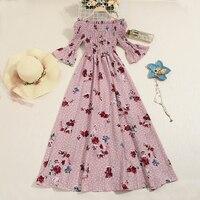 2019 new fashion women's dresses Spring and summer floral chiffon dress summer dress
