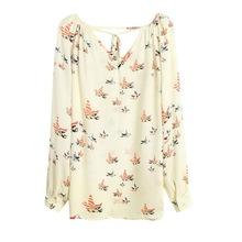 New Women Summer Chiffon Top Blouse Short Long Sleeve Print Casual Loose Shirt