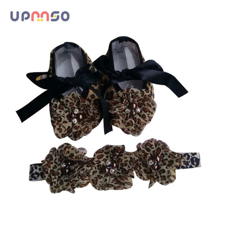 Leopard Baby Moccasins Headbands Set Diamond Baby Boots Sapato Accessories For Hair Soft Sole Baby Shoes Kids Shoes