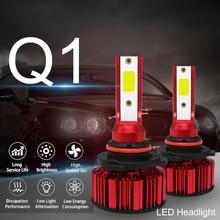 2Pcs Q1 HB4 9006 HB3 9005 H10 H8 120W COB LED Car Headlight Kit  H9 H11 H4  9003 HB2 H7 12000LM 6000K LED Car Bulbs 120w 12000lm cob led headlight kit h8 h9 h11 low beam 6000k bulbs