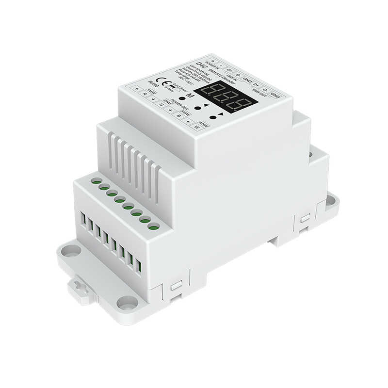 Nova CH 4 DMX512 Decodificador de Corrente Constante RGB/RGBW Decodificador Tira montado em trilho Din 4 canal 350mA 700mA 5 -24V DC D4C