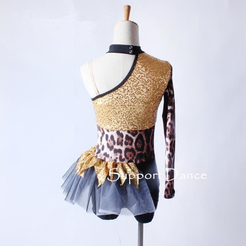 Image 4 - Асимметричное леопардовое платье для латинских танцев, для детей и взрослых, стильный джазовый современный танцевальный костюм C305-in Латинский from Новый и особенный в использовании