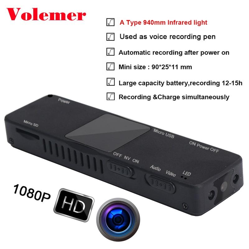 Volemer K5 micro camera 1080P Infrared Night Vision DVR Video Webcam DV Sports Helmet pen camera recorder mini cam camcorder