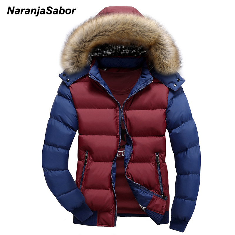 NaranjaSabor 2020 Winter Men's Thick Coats Hooded Down Parka Warm Mens Jackets Breathable Male Overcoat Mens Brand Clothing 4XL