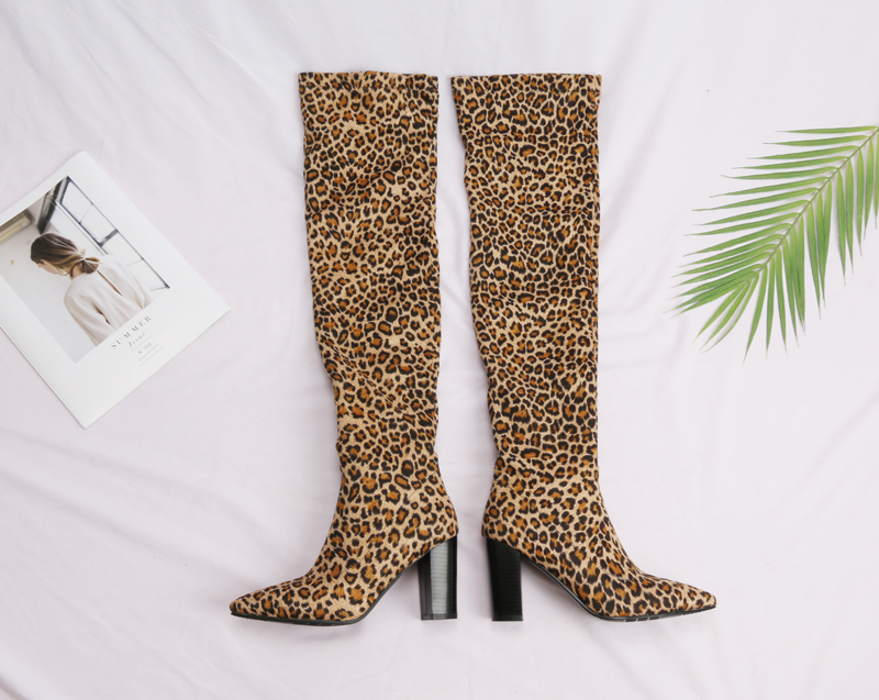 Meotina Thigh High Boots Winter Sexy Leopard Over the Knee Boots Pointed  Toe Thick High Heel Tall Boots Ladies Red Black. (2). a 9dcd7d9c06f6
